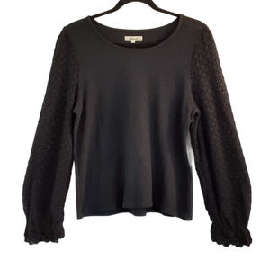 Madewell Linzer Black Knit  Cotton Top Medium